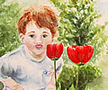 Boy and Tulips.